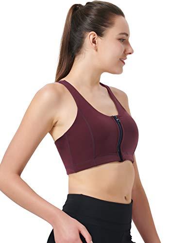 Zeronic Damen Sport-BH mit Reißverschluss vorne, mittelgroß, stoßfest, mit Riemen, für Workout - Rot - X-Small - 3