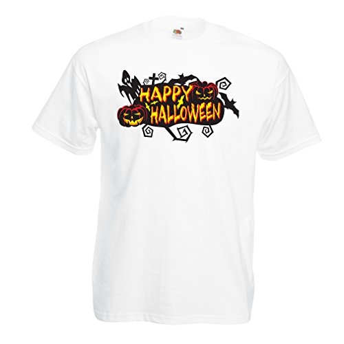 Männer T-Shirt Owls, Bats, Ghosts, Pumpkins - Halloween Outfit Full of Spookiness (Large Weiß Mehrfarben)