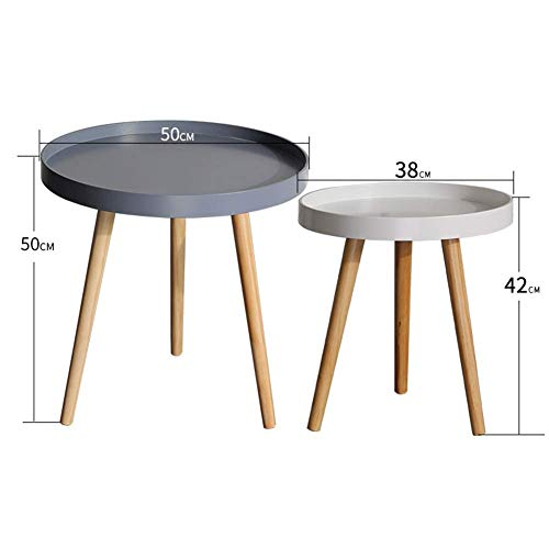 HYLH Side Tables,Tables Coffee Tables Round Side Tables Modern End Tables Occasional Tea Tables Nesting Tables for Balcony and Living Room Set (Color : Gray Big White small disc) -