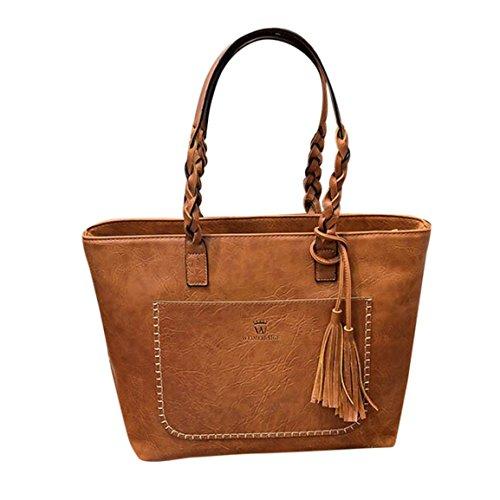 Moonuy,Handtasche groß,handtaschen damen,Frauen Leder Quasten Handtasche Schulter Messenger Bag Damen Tasche Tote Taschen Casual Tote harten Griff vielseitige Reißverschluss Totes (Braun) (Tote Griff Canvas)