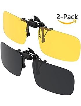 Gafas de sol con clip, Gritin [2 unidades/día + noche visión] Gafas de sol polarizadas UV400 para hombre y mujer...
