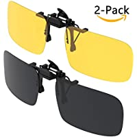 Gafas de sol con clip, Gritin [2 unidades/día + noche visión] Gafas de sol polarizadas UV400 para hombre y mujer, ajuste cómodo y seguro sobre gafas de sol con receta ideal para conducción y al aire libre