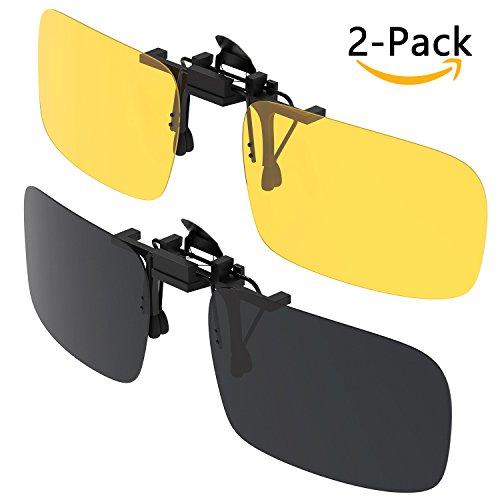 Sonnenbrille Aufsatz, [2er Pack/Day + Night Vision] Gritin Clip auf Sonnenbrillen Herren/Damen UV400 aufklappbare Polarisiert bequem sicher Passform Brillen ideal