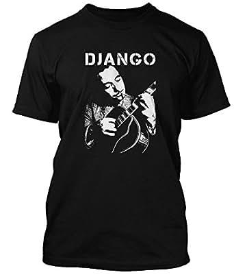 Django Reinhardt jazz guitar T-shirt, Mens, Small, Black