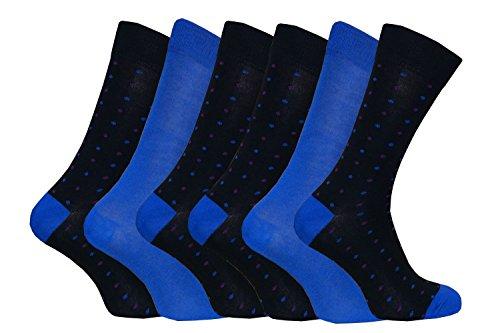 6 pares calcetines hombre bambu divertidos colores en 5 estilos 40-45 eur (Polka dot Blue)