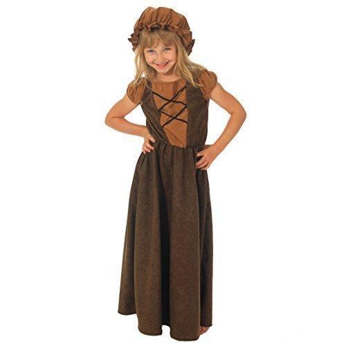 Mädchen Viktorianisch Arm Bauer Mädchen Büchertag Kostüm Kleid Outfit - Braun, 8-10 Jahre (140-146)