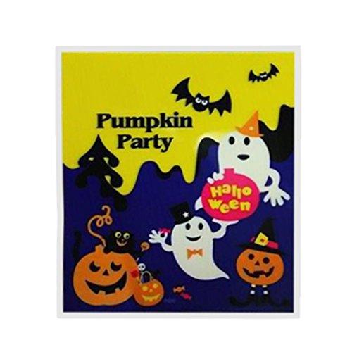 100 Stück Happy Halloween Süßigkeiten Tasche Snack Packet Taschen Geschenke Taschen Plastik Clear Candy Cookies Handwerk Taschen Kinder Haushalt Kid Garden Home Decor HKFV (Halloween Candy Bag Handwerk)