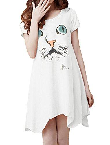 Signora Alto Basso Orlo Elastico Manica Corta Estate Casual Vestito Bianco XS White