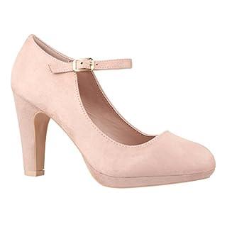 Elara Damen Pumps | Bequeme Riemchen High Heels | Vintage-Style | Abendschuh Trendy | Chunkyrayan | 118-8 Beige-40