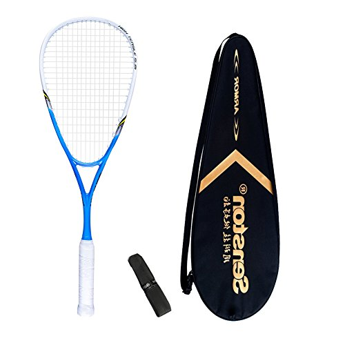 Senston Damen/Herren Squashschläger 100% Carbon Squash Schläger Set mit Squashstasche,Overgrip,Blau