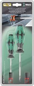 Wera Kraftform Plus / 05073701001 Jeu de tournevis PZ1/PZ2 Avec 2 griffes de maintien (Import Allemagne)