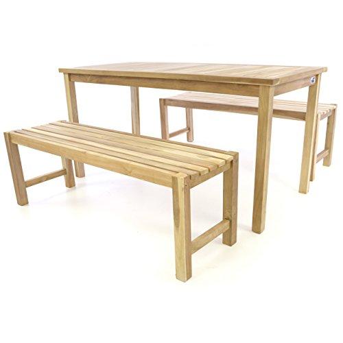Divero DIVERO Gartenmöbel-Set Picknickset Sitzgruppe Set Teakholz Bank Tisch unbehandelt Tisch 150 cm lang plus 2 Bänke je 130 cm lang