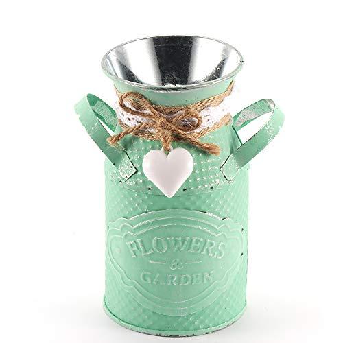 OurLeeme Rundstricknadel Barrel aus Metall Vase Pastorale Eisen Blume Garten Shabby Blumentopf Vasen Deko Desktop Blumen Pflanztopf für Zuhause - Vintage Garden Vase