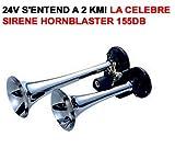 LCM2014 24V ! HORNBLASTER KLAXON LOCOMOTIVE 2 TROMPES CHROMEES 155DB ! LA CELEBRE HORNBLASTER ! PUISSANCE INCROYABLE ! RAID PREPARATION 4X4