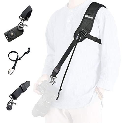 dslr tragegurt prowithlin WITHLIN Kamera Gurt - Verlängerter Schultergurt mit Sicherheits Tether Montageplatte für Kamera DSLR SLR (Canon Nikon Sony Olympus Pentax, etc.) (Gurt + Haltegurt + Platte)