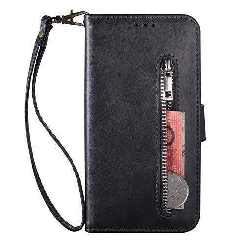 HUDDU Kompatibel mit Xiaomi Redmi Note 8 Hülle Leder Wallet Schutzhülle 3 Kartenfächer Handyhülle Reißverschluss Brieftasche Klapphülle Ultra Slim Tasche PU Case Ständer Lederhülle Wristlet Schwarz