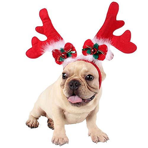 2 stück Weihnachten Haustier Stirnband Mode Niedlichen Geweih Glocke Bowknot Candy Cane Decor Hund Katze Kostüm Stirnband für Katzen Hunde Cosplay, 1, M (Candy Cane Kostüm Für Erwachsene)