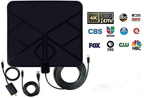 Antena HDTV, antena HDTV amplificada para interiores Alcance de 50 millas con amplificador desmontable Amplificador de señal y cable coaxial de alto rendimiento