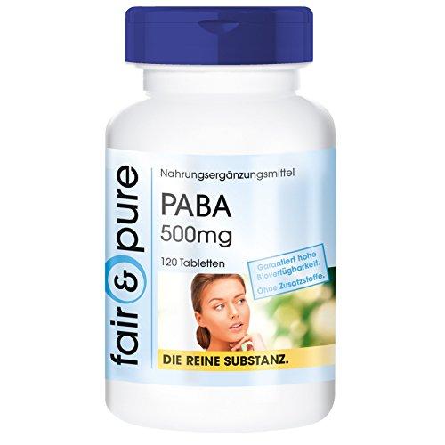 PABA 500mg, Para-Aminobenzoesäure, Vitamin B10, vegan, ohne Magnesiumstearat, 120 PABA-Tabletten