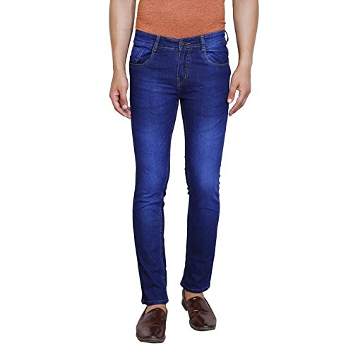 Trendy Trotters Classic Stylish Cotton Jeans for Men Casual Wear Stretchable Comfort Fit Blue