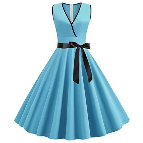 Markthym Frauen-Weinlese-Retro Sleeveless V-Ansatz Abend-Party-Kleid-Abschlussball-Schwingen-Kleid Frauen Vintage V-Ausschnitt ärmelloses einfarbiges Kleid -