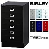 BISLEY Schubladenschrank 29 aus Metall | Schrank mit 6 Schubladen und Sockel | Büroschrank DIN A3 | Werkzeugschrank | Metallschrank in 6 Farben (Schwarz)