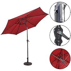 Yongtaifeng Parasol Déporté Parasol Rectangulaire Inclinable en Métal, Diamètre 3m pour Jaridn Balcon Piscine Plage, 3 Couleurs (Vin Rouge)