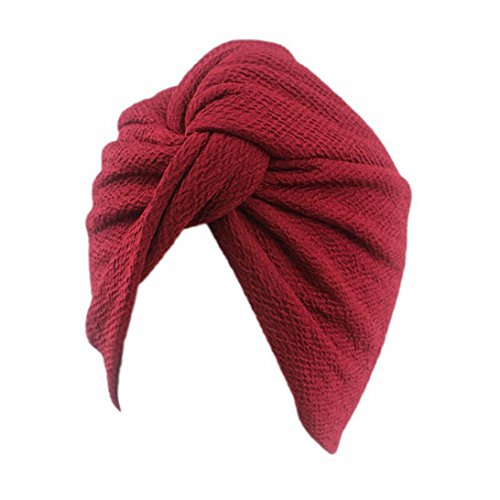HKFV Vintage Style gefaltet Turban ideal für Kostüme Mode Chemo Hut Beanie Schal Turban Kopf Wrap Cap (Kostüme Turban)