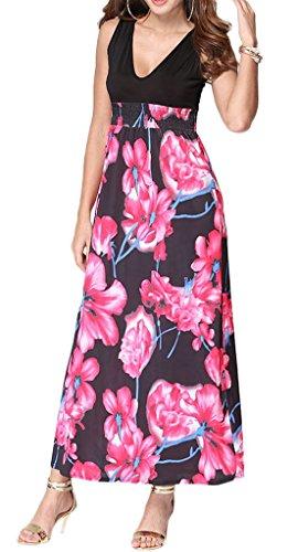 60247b46f57 Bigood Robe Eté Femme Col V Robe de Plage Longue Sans Manche Fleur Imprimée  Rose Rouge Achat Vente Vente Rabais Jeu Aiment Meilleur