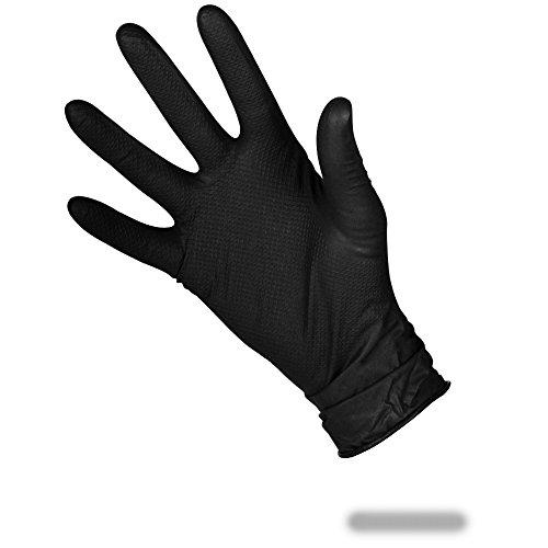 schuppen-Nitril-Handschuhe für guten Griff, inkl. antibakteriellem Stift, schwarz, doppelseitig, extrastark, Large (1Box) ()