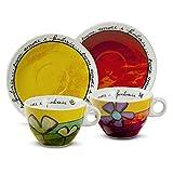 Egan PAF12/1V set cappuccino, porselein, groen/rood, 4 stuks