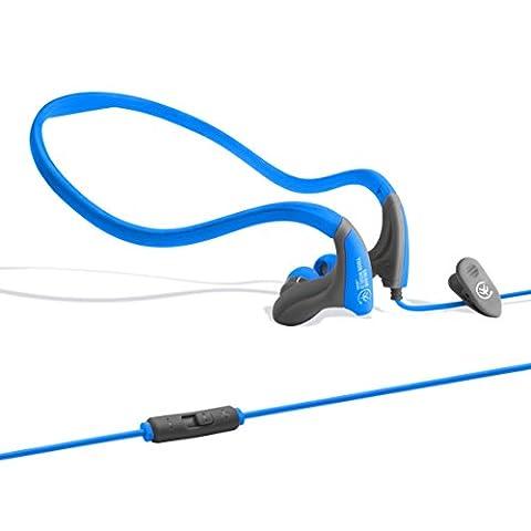 Lightweight Sports Earphones by Urbanz, Sweatproof Adjustable Running Neckband with Volume Control (Blue)