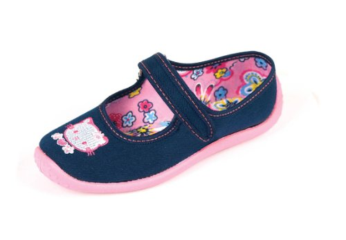 Nazo - Ballerine da bambina, in tela, motivo: Hello Kitty, colore: blu navy - 26 EU - Blu navy
