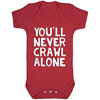124988970 You ll Never Crawl Alone Liverpool Baby Vest Babygrow Romper Liverpool  Football Fan Novelty (3-6 Months)
