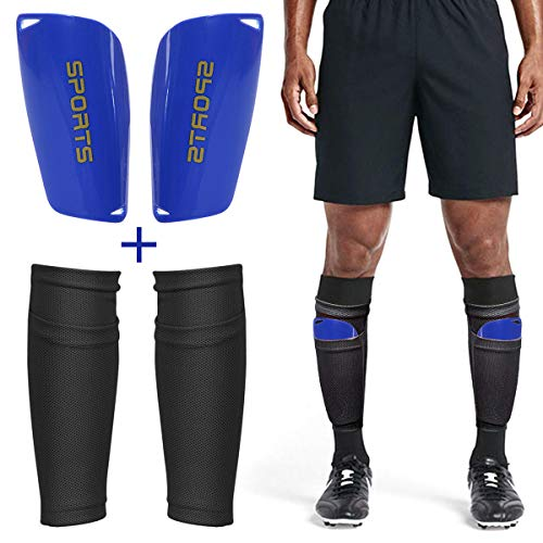uard Leggings Socken+Leggings Kunststoff Tasche Fußball Ausrüstung Komfort- Erwachsene Teenager Kinder- Fußball-Wettbewerb Anfänger Leistungssportler (Kind:Schwarz + blau) ()
