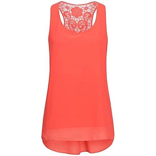 Damen Sommer Reißverschluss Tank Crop Tops Vest Tanktops Weste Cami DOLDOA Oberteile T-Shirt Geburtstags Geschenk Für Frauen Mädchen Freundin (EU:42, Orange - - Valentinstag-formale Kleid