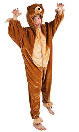 Karneval-Klamotten Bär Kostüm Kinder aus Plüsch Bären Kinder-Kostüm Teddy-Bär Braun Kostüm Karneval Tier-Kostüm Kinder-Kostüm Größe 116