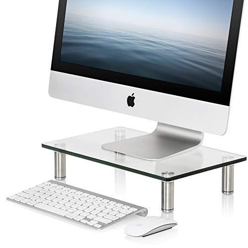 Fitueyes supporto monitor, supporto per computer portatile, supporto da scrivania, supporto da tavolo, monitor raiser, altezza regolabile, in vetro temperato, partata max 15kg, 38,5x24x7,6, dt103801gc