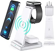 15w Fast Qi Magnetic, Detachable, Wireless Phone Charging Dock Station 3 in 1 For iPhone, Airpods, Watch (QC 3