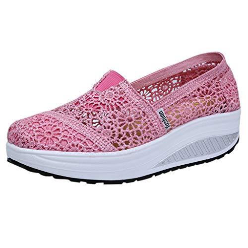 Zegeey Femme Mailles Baskets Compensée Plateforme de Léger Baskets Chaussures Shape Chaussures de Sport en Dentelle Respirant Platform Casual Souliers pour Femmes Slip on (Rose,EU35)