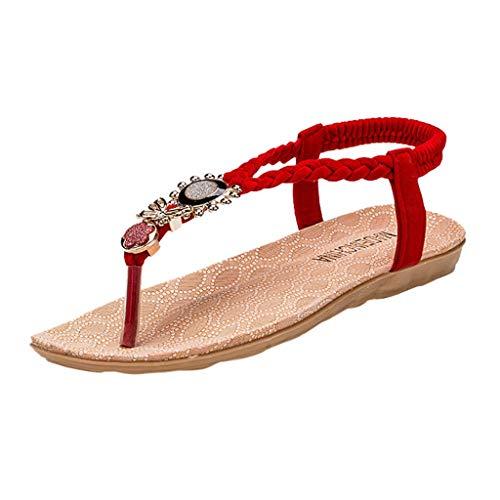 SHE.White Damen Sandalen, Frauen Mädchen böhmischen Mode Flache beiläufige Sandalen Strand Sommer Flache Schuhe Flip-Flop Flach Schuhe Toe Separator -