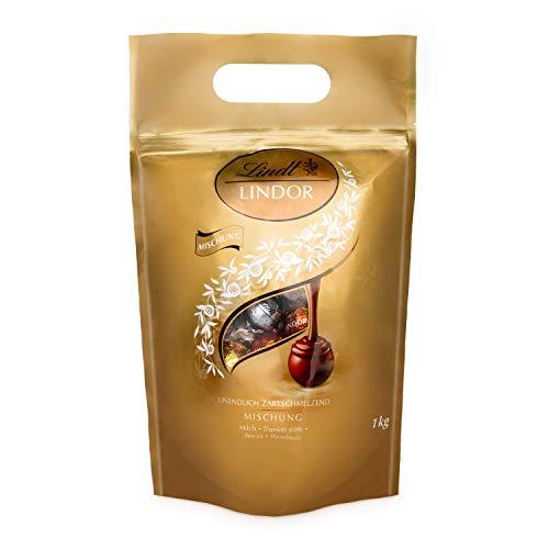 Lindt Lindor Schokoladenkugeln Auswahl (glutenfrei - ca. 80 Kugeln, 1 kg (inkl. Milch, Weiß, Dark und Extra-Dark))