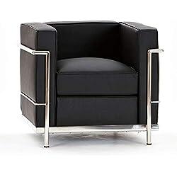National Office Furniture Supplies Le Corbusier inspiré Simili Cuir Noir One Places, Noir, Single Chair
