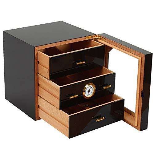 3-schubladen-desktop (LRXHGOD 3 Schubladen Desktop Zigarren Humidor Glasplatte mit frontmontiertem Hygrometer und Luftbefeuchter mit Zedernfutter Aufbewahrungsbox)