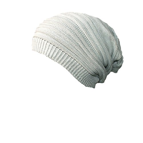 Z-P Unisex Winter Keep Warm Knitted Double Color Stripe Stretchy Hat (Neck Square Sheer)