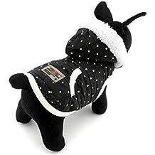 Ropa para cachorros, gatos, perros pequeños SELMAI Pet. Abrigos de forro polar, chaquetas de lana, sobretodos con capucha de color negro.