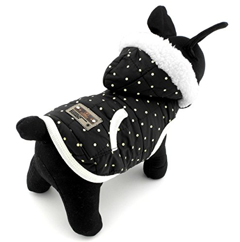 Pegasus Haustierkleidung für Welpen, Kätzchen, kleine Hunde, Winterjacke mit Fleecefutter und Kapuze, Kostüm, Schwarz