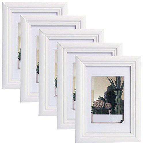 5er Set Bilderrahmen Fotogalerie, 9410-5 , Holz Rahmen , mit Glasscheibe , mit Passepartout, Artos Weiß, 13x18 cm