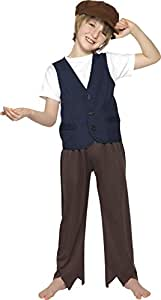 Smiffy's Children's Victorian Poor Peasant Boy Costume, Waistcoat and Hat, Colour: Blue, Size: M, 33707
