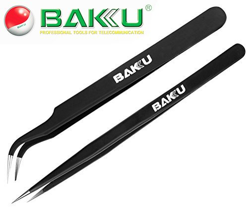 Buyyart New 2 in 1 ESD Anti Static Tweezers , BAKU BK ,Made of Stainless Steel